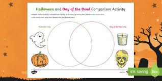 Dia De Los Muertos And Halloween Venn Diagram Halloween And Day Of The Dead Comparison Activity