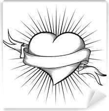 Nálepka Na Dveře Tetování Stylizované Srdce S Křídly Halogen A
