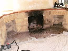 canford cliffs stone fireplace before cleaning