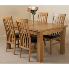 seattle solid oak 150cm 210cm extending dining table with 4 harvard solid oak dining chairs