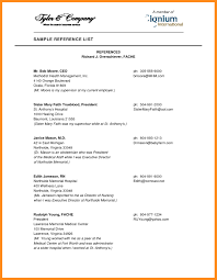 Resume Reference List 24 List Of References Sample Parts Of Resume Resume Reference List 5