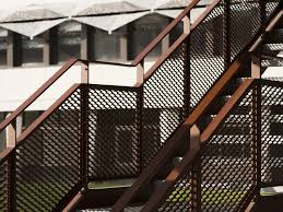 Metal railing stairs Fixer Upper Stadtcalw Expanded Metal Stair Railing Stair Railing By Metal Deploye