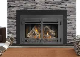 image of wood burning fireplace doors design