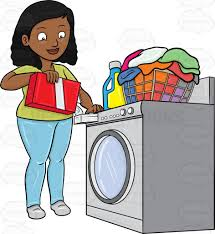 washing machine and dryer clipart. a black woman adding good measure of detergent powder to her laundry washer washing machine and dryer clipart m