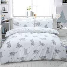luxury animal print design duvet set quilt cover bedding single double king size cat grey double flubit