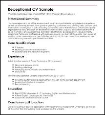 Resume For Receptionist Position Awesome Cv Examples For Receptionist Job Primeflightsdirtysecrets Resume