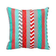 red and teal pillows. Fine Red Cotton Stripe Pattern Pillowcase Bright Neon Red And Teal Geo Stripes Pillow  Covers 18 X To Pillows D