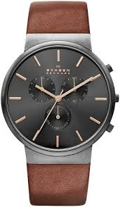 men s skagen ancher chronograph leather band watch skw6106