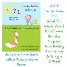 le le nursery rhyme diy escape room kit gender reveal birthday surprise family friendly youth group baby shower party game