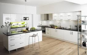 modern white floors. Kitchen:Exquisite Chrome Triple Doors Refrigerators For Modern Small And With Kitchen Amusing Images White Floors