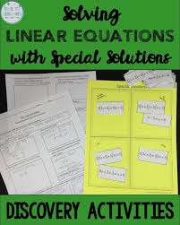solving linear equations discovery worksheet card sort special solutions
