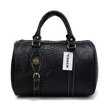 Coach Embossed Medium Black Luggage Bags DEE