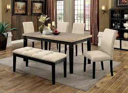 furniture of america cm3466t 6pc 6 pc dodson i black finish wood faux marble top