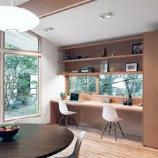Image Long Example Of Small 1960s Builtin Desk Light Wood Floor Study Room Design In Houzz Dining Room Converted Home Office Ideas Photos Ideas Photos