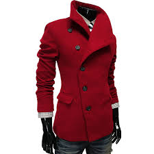 fashion style chic turndown collar side single ted long sleeves woolen coat for men