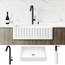 Vigo 33 Inch White Farmhouse Apron Front Matte Stonetm Kitchen Sink