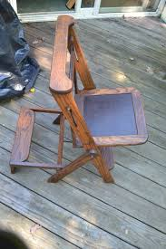 vtg antique wood folding library chair ladder step stool
