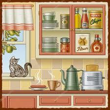 Retro Kitchen Furniture Retro Kitchen Stock Vector Ac Iatsun 5794771