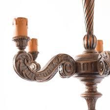 vintage carved wooden 5 light chandelier from belgium