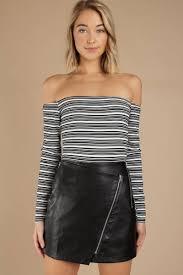 set it off black faux leather skirt