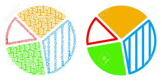 Pie Chart Collage Icon Of Zero And Null Digits In Variable Sizes