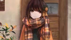 winter, cute, anime girl, artwork ...