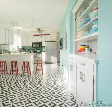 painting tile floors with a stencil