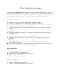 Office Clerk Job Description For Resume Resume Ideas