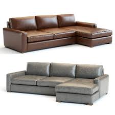 restoration hardware maxwell leather sectional 3d model