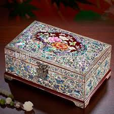 Decorative Jewelry Gift Boxes Beautifully Crafted Marquetry Gift BoxRetro Seashell Mosaic Inlay 40