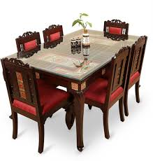 Solid wood dinning set Rustic Exclusivelane Teak Wood Solid Wood Seater Dining Set finish Color Walnut Brown Flipkart Exclusivelane Teak Wood Solid Wood Seater Dining Set Price In
