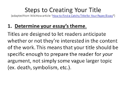 titling your essay how to create a catchy but informative title  steps to creating your title adapted from wikihow article how to a catchy title