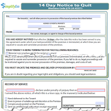 3 Days Pay Or Quit Form Montana Notice To Quit Simplifyem Com