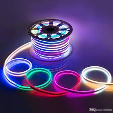 Multi Color Changing Led Lights Ac 110 240v Flexible Rgb Led Neon Light Strip Ip65 Multi Color Changing 120leds M Led Rope Light Outdoor Remote Controller Power Plug Led Strip