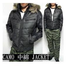 batting jacket mens quilt camouflage with pu leather fashion outer jumper blouson padded jacket