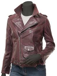 oxblood leather jacket for women