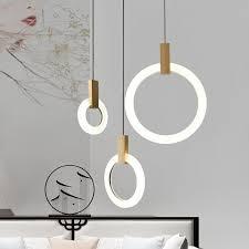 Contemporary Wood <b>LED Chandelier Lighting Acrylic Rings Led</b> ...