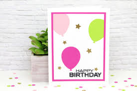 happy birthday pink and green handmade happy birthday card pink green balloons