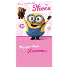 Special Niece Minions Birthday Card Minion Cards Blank Thank You Top