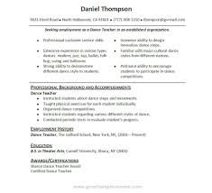 dancer resume example template dancer resume example