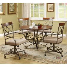 dining room set with caster chairs. furniture. brown metal dining room chairs with casters and wheels having grey seat pad combined by round wooden table on areas rug. set caster