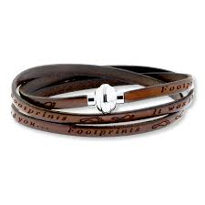footprints prayer brown leather bracelet stainless steel tap to expand