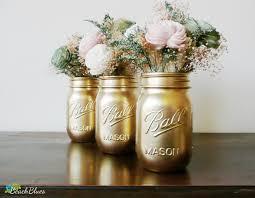 Dorm Decor Gold Painted Ball Mason Jars Vase by BeachBlues