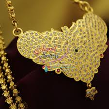 cs1869 pendant chain south indian traditional jewellery american diamond gold plated handwork