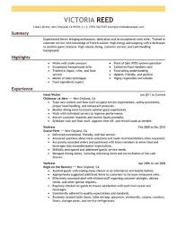 resume for restaurant server resumes examples barca fontanacountryinn com