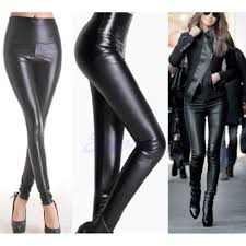 details about lady women s y high waisted faux leather skinny stretch pants slim leggings