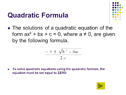 quadratic formula the solutions of a quadratic equation of the form ax² bx c