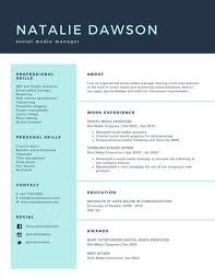 Pale Turquoise Social Media Manager Simple Resume Resume Amazing Social Media Manager Resume