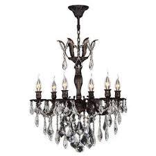 versailles 6 light flemish brass crystal chandelier