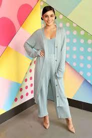 Light Blue Cardigan Outfit Sweater Light Blue Vanessa Hudgens Celebrity Pants